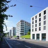 Aussenraum: Blick von der Breitensteinstrasse (aus Putz und Beton)