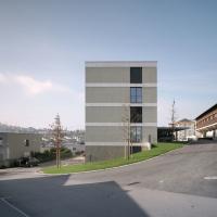 Fassade: Fassade mit Natursteinbändern (aus Putz und Naturstein)