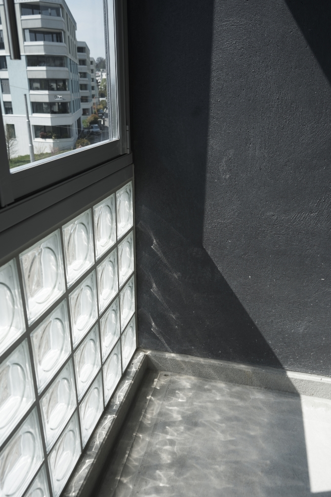 Detail nach Titel: Eckdetail Logggia (aus Beton und Glas)