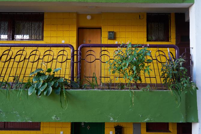 Erschliessung: Laubengangs mit den Blumenkästen und Geländer (aus Beton)
