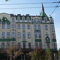 Fassade: Die Fassade (Sezession?) mit den grünen Keramikplatten (aus Putz und Keramik)