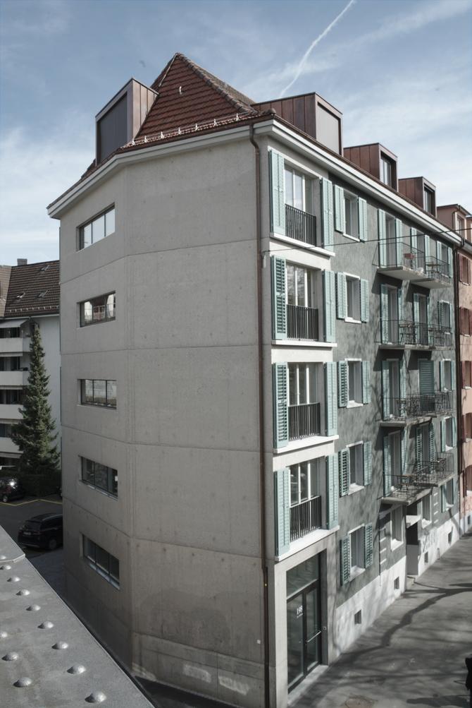 Fassade: Blick vom Viadukt auf die Fassade Josefstrasse (aus Beton)