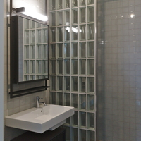 Sanitär: Lavabo mit Glasbausteinen von Dusche getrennt (aus Glas)