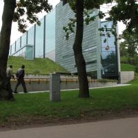 Fassade: Fassade mit grün patinierten Kupfer (aus Metall)